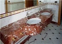 Red Ice Marble Bathroom Top