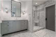 Silver Shadow Marble Bathroom Wall and Floor Application