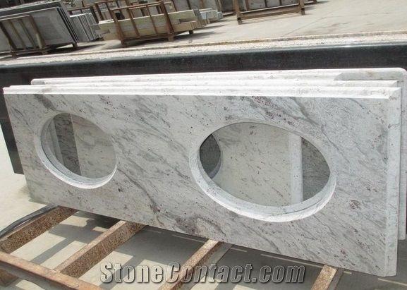 Indian Popular Cheap Granite White Galaxy Bathroom Countertops Custom Vanity Tops With Sinks