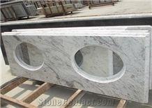 Indian Popular Cheap Granite White Galaxy Bathroom Countertops Custom Vanity Tops with Sinks Holes, Taps Holes, Natural Stone Bath Tops in Bullnose Edge
