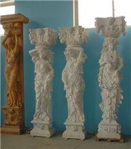 Beige Travertine Columns, Human Figures Hand-Carved Columns