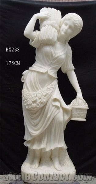 Woman Stone Sculpture Western Lady Figure Statues White
