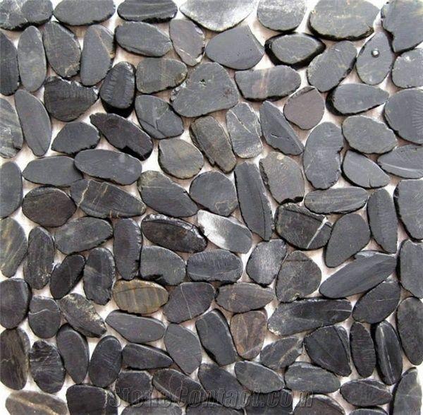 Black Flat Split Pebble Tile