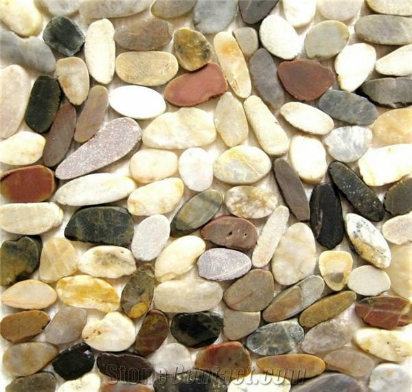 Sliced Mixed River Stone Tile Flat