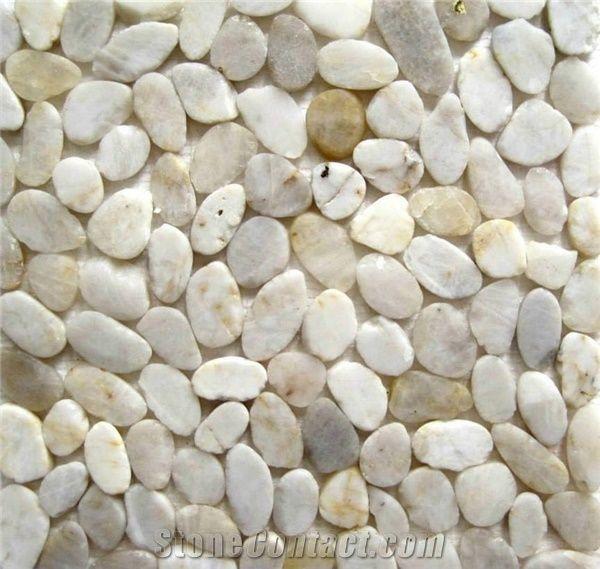 White Sliced River Pebble Cobbles