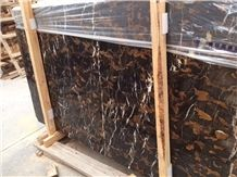 Black Golden Portoro Slabs & Tiles, Pakistan Black Marble