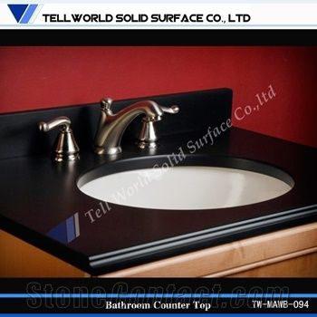 Solid Surface Bathroom Countertops With Built In Sinks From