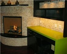Apple Green Table Tops Made Of Quartz Stone Solid Surfaces Tabletops-Chemical and Stain Resistant, Non-Porous, Easy Maintenance