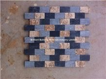 Black Limestone Mosaic Mixed Travertine