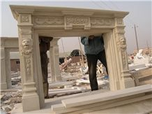 Beige Marble Fireplace,Carving Fireplace, China Beige Marble Fireplace