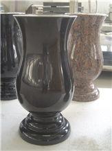 Shanxi Black Granite Monumental Vases,Flower Holder
