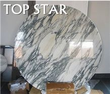Polished White Marble Round Table Tops