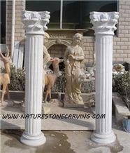 Ariston White Marble Roman Columns
