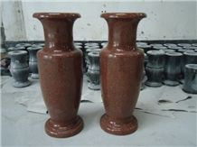 New Arrival Beautiful Indian Red Stone Cemetery Granite Vases with Top Quality