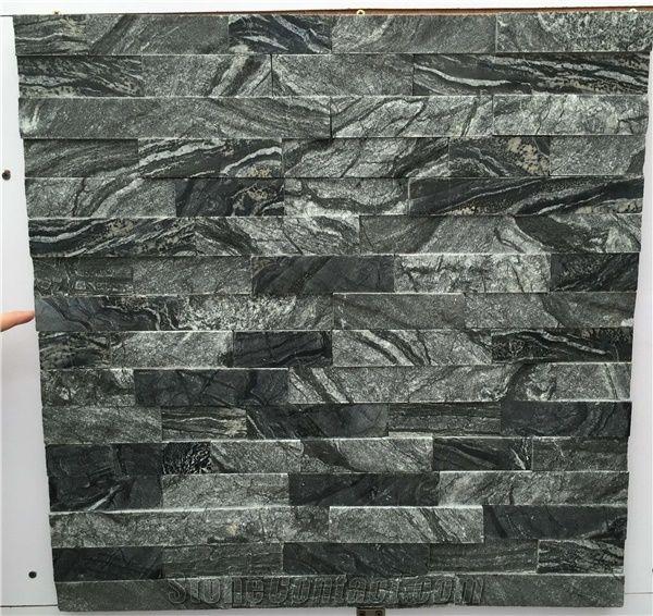 Black White Vein Marble Stacked Stone Ledger Panels