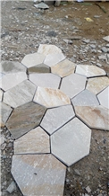 Yellow Slate Net Paste Flagstone Pattern