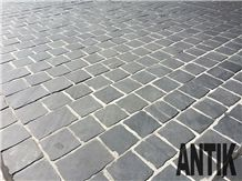 Black Basalt Paving Cubes - Split from Slab