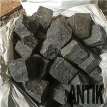 Paving Cubes. Cobbles. Black Stone. Basalt
