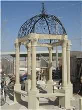 Beige Sandstone Gazebo with Column Design