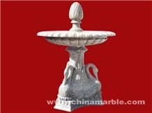Hand Carved Crane Fountain, White Marble Fountain
