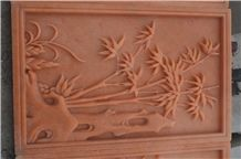 Hand Carved Pink Marble Relief Bamboo