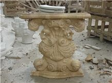 Hand Carved Travertine Table with Sculpture