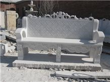 Hand Carved White Marble Bench for Garden