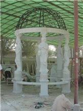 Hand Carved White Marble Gazebo with Statue Design