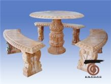 Pink Marble Table & Bench,China Pink Marble