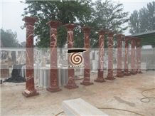 Red Marble Solid Columns ,China Red Marble