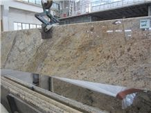 Chine Wholesale Brazil Mary Gold Golden Granite Merry Gold Slabs Prefab Countertops & Vanity Tops Bullnose or Flat