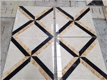 Multicolor Yellow & Black & Pink Marble Water Jet Medallion,Hand Works Square Floor Medallion,All Sorts Of Manual Design