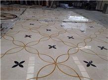 Nature Stone Marble Waterjet Pattern Tiles Marble Floor Medallion Tiles Hotel Indoor Medallions Black & White & Yellow