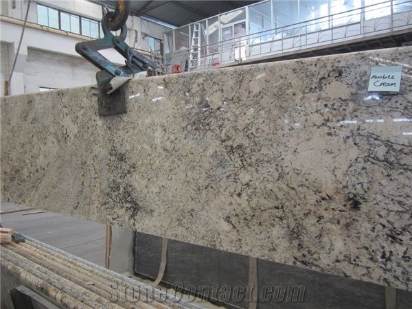 Polished Granite Absolute Cream Beige Granite Slabs Tiles 23cm