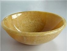 Rosin Jade Round Basins,Yellow Onyx Design Stone Sinks for Luxury Hotel Use and Bathroom Made in China