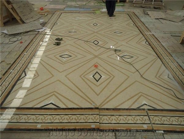 Stone Waterjet Medallion Portoro Gold A Quality Modern Marble Inlay Flooring Design