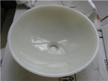 White Marble Moon Basin for Luxury Hotel Use Chinese Factory Distribute Durable and Beautiful Natural Stone Bathroom Sinks