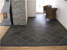 Cheap and Popular Natural Chinese Black Slate Floor Tiles and Wall Tiles,Xingzi Black Slate Flooring