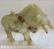 Bull Sculpture Onyx (In Stock), Green Pakistan Onyx Sculpture