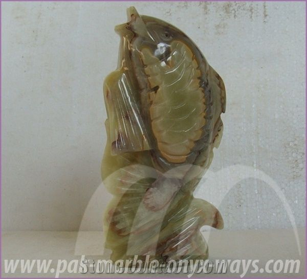Green Onyx Fish Artifact in Stock 8 Inch from Pakistan