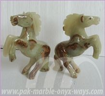Light Green Onyx Carved Horse Handcrafts 12 Inch (In Stock)