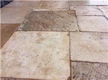 Antique Dalle De Bourgogne French Stone Floors, Beige Limestone Tiles & Slabs France, Flooring Tiles