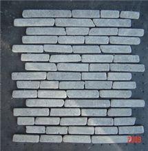 Black Parquet Interlock, Linear Strips Marble Mosaic