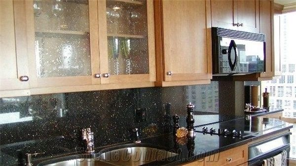 Polished Black Galaxy Granite Kitchen Countertop India