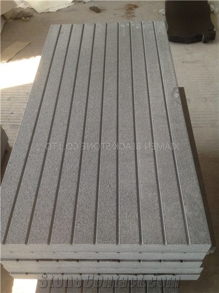 G635 Granite Tiles Groove Panel Cutting By Hand Slabs For