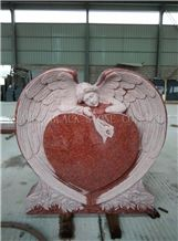 Indian Red Angel Heart Tombstones,Heart Monuments,Heart Headstone,Baby Angel