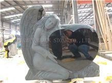 Shanxi Black Granite Angel Heart Tombstones, Heart Monuments, Heart Headstone, Baby Angel