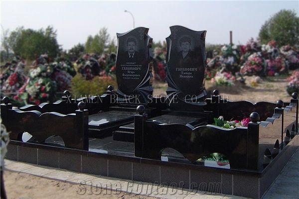Shanxi Black Granite Double Monuments Headstones Double
