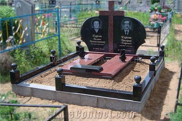 Shanxi Black Indian Red Granite Tombstones Monuments