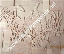 Cnc Wall Panels, White India Marble Wall Panels